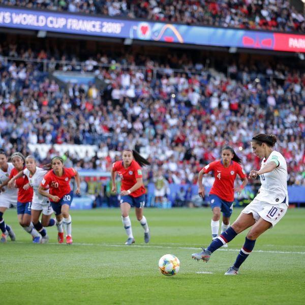Carli Lloyd of the USA misses a penalty during the 2019 FIFA Women's World Cup France group F match between USA and Chile at Parc des Princes on June 16, 2019 in Paris, France. (Credit: Richard Heathcote/Getty Images)