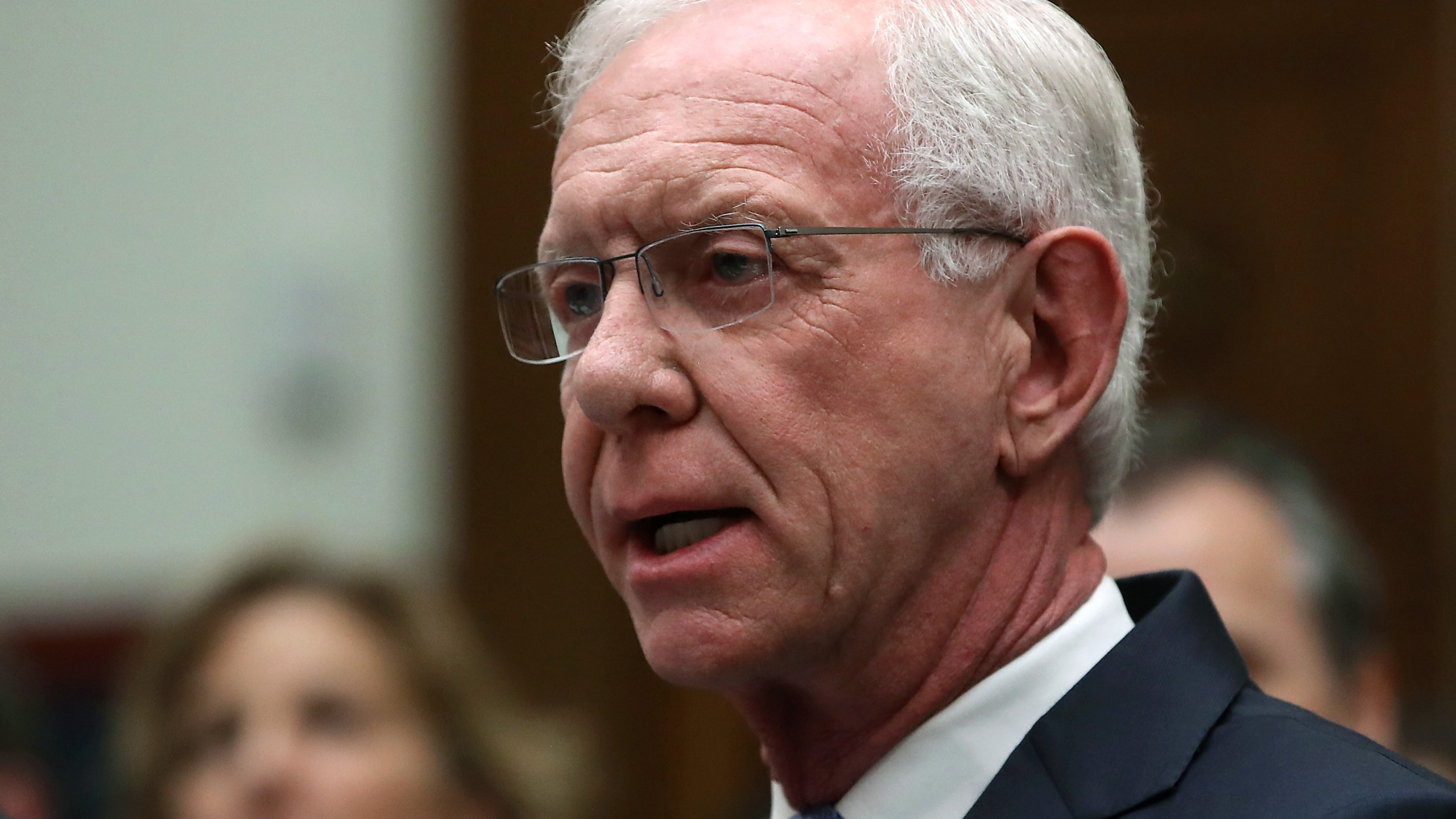 "Retired airline Captain Chesley ""Sully"" Sullenberger, testifies during a House Transportation and Infrastructure Committee hearing on June 19, 2019, in Washington, D.C. The committee heard testimony from officials in the airline industry regarding the status of the grounded Boeing 737 MAX. (Credit: Mark Wilson/Getty Images)"