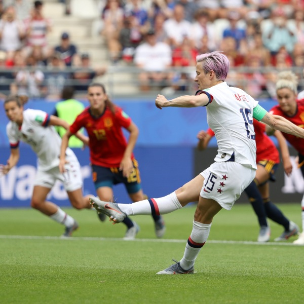 Megan Rapinoe of the USA scores her sides first goal from the penalty spot during the 2019 FIFA Women's World Cup France Round Of 16 match against Spain on on June 24, 2019. (Credit: Robert Cianflone/Getty Images)