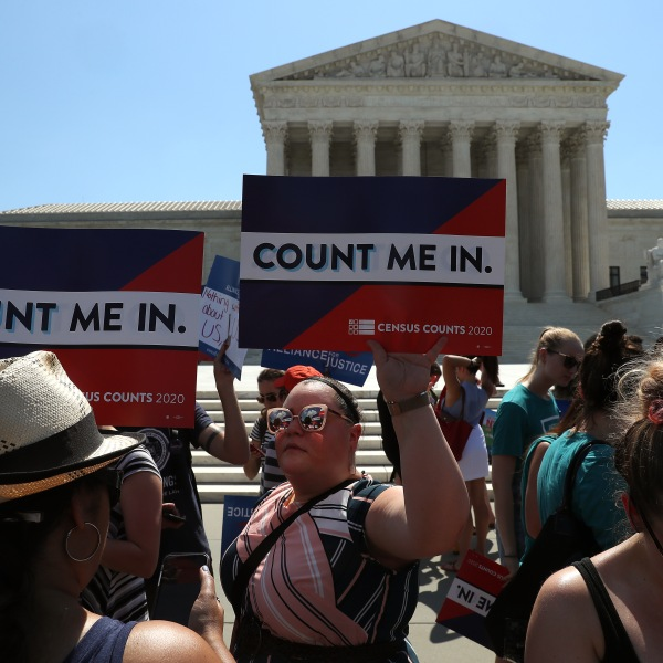 People gather in in front of the U.S. Supreme Court as decisions are handed down on June 27, 2019, in Washington, DC. The high court blocked a citizenship question from being added to the 2020 census for now, and in another decision ruled that the Constitution does not bar partisan gerrymandering. (Credit: Mark Wilson/Getty Images)