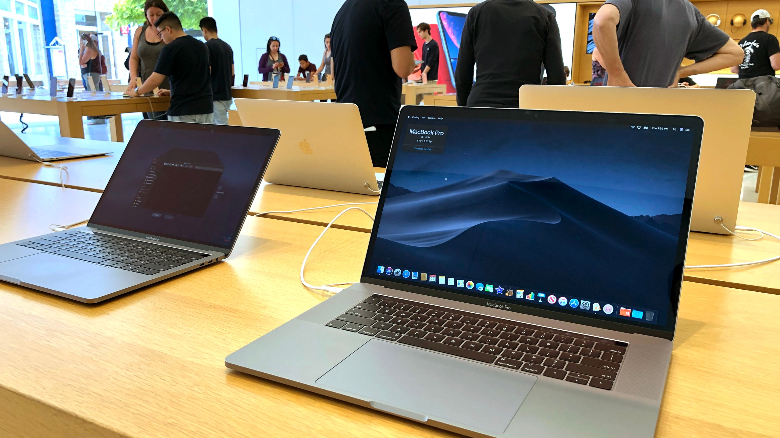 A MacBook Pro laptop is displayed at an Apple Store on June 27, 2019, in Corte Madera. (Credit: Justin Sullivan/Getty Images)