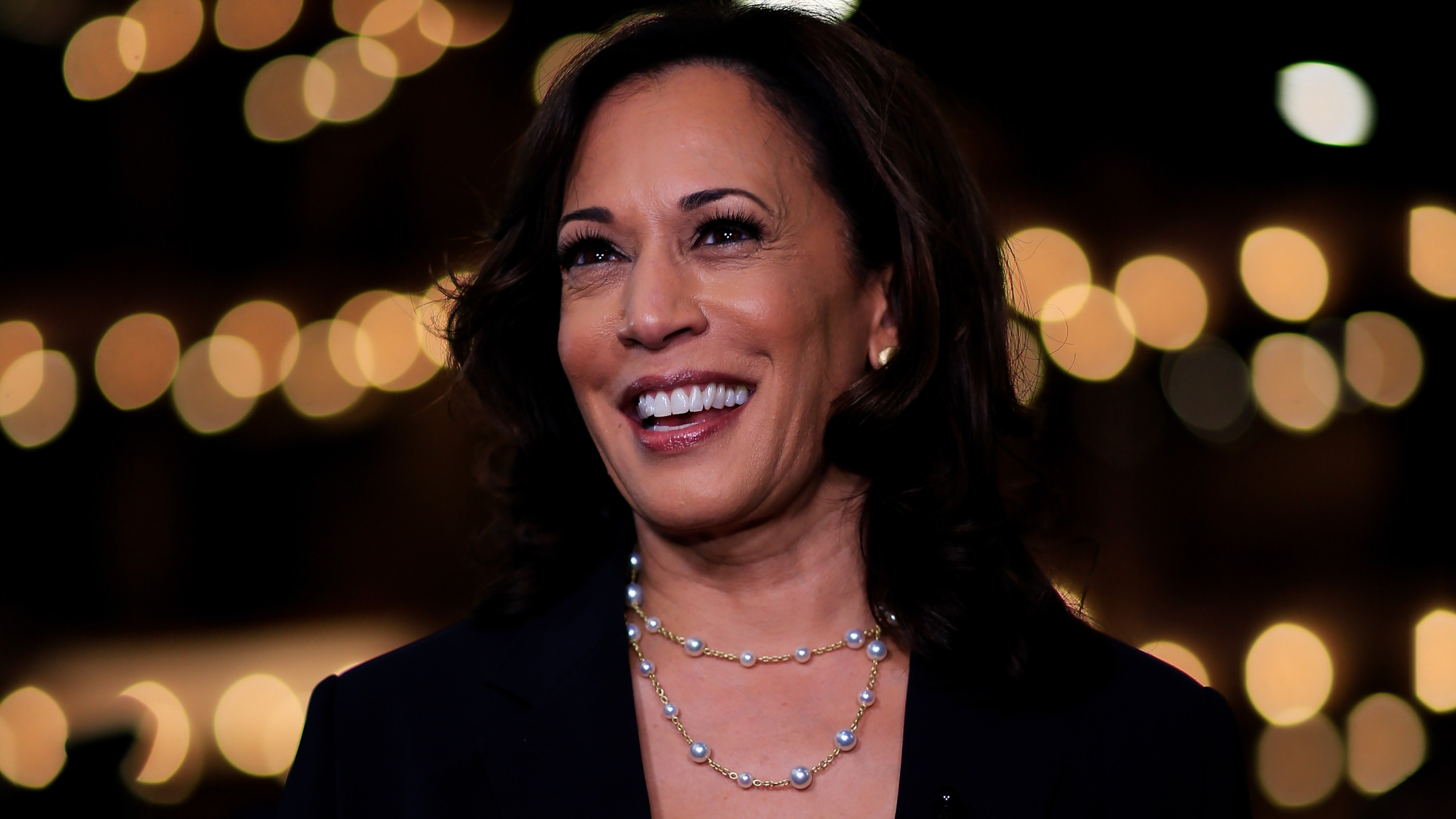 Democratic presidential candidate Sen. Kamala Harris speaks during a television interview after the second night of the first Democratic presidential debate on June 27, 2019, in Miami, Florida. (Cliff Hawkins/Getty Images)