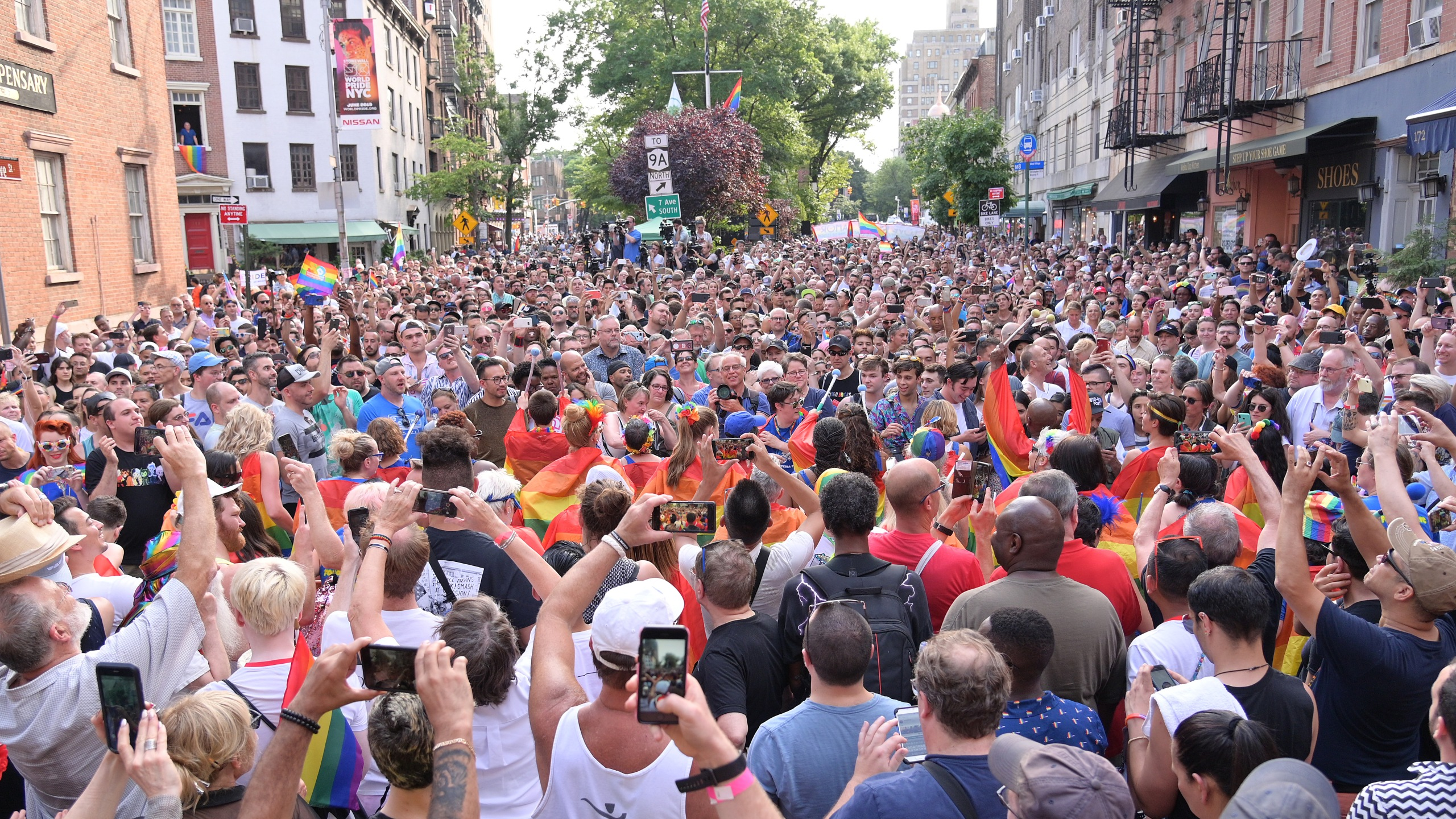 A general view of the crowd during the Stonewall 50th Commemoration rally during WorldPride NYC 2019 on June 28, 2019, in New York City. (Credit: Michael Loccisano/Getty Images)