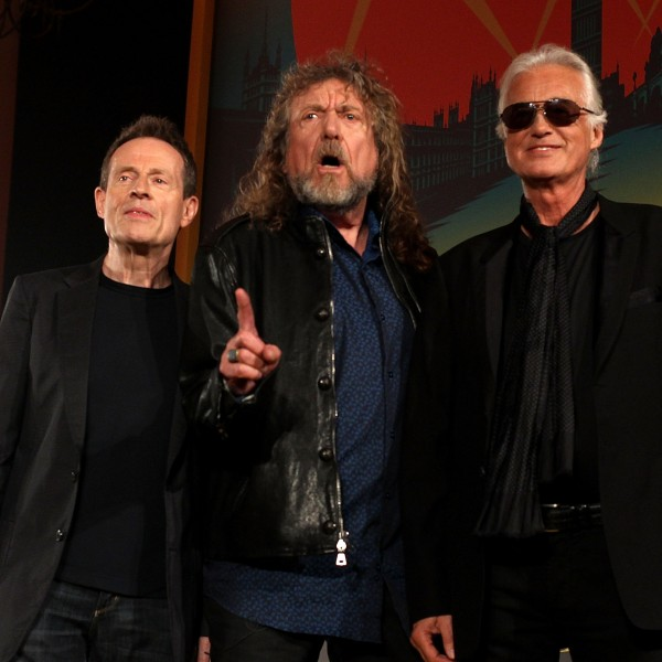 From left: John Paul Jones, Robert Plant and Jimmy Page of Led Zeppelin attend a press conference in London on Sept. 21, 2012. (Credit: Danny Martindale / Getty Images)