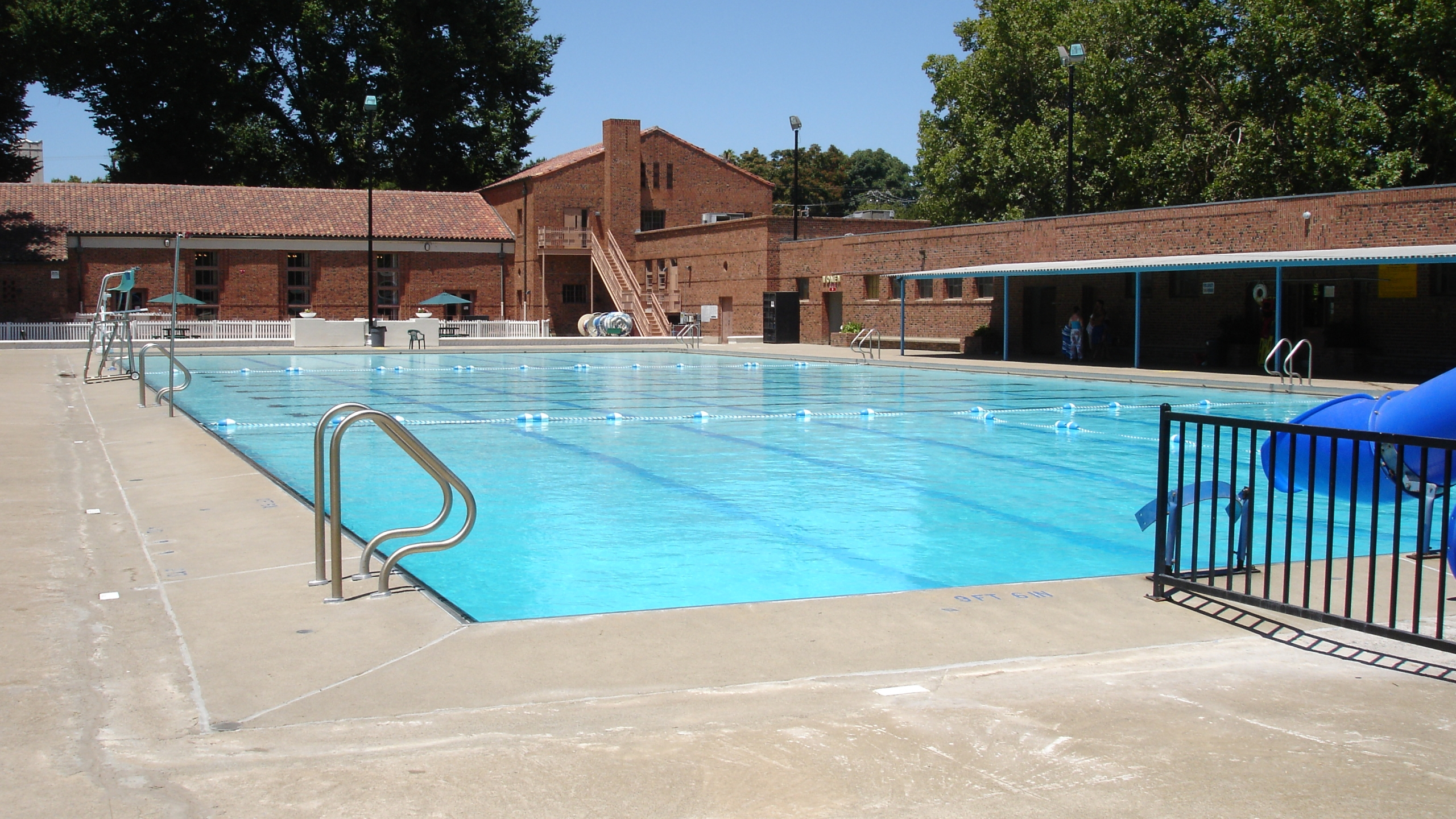 A municipal swimming pool is seen in a file photo. (Credit: Getty Images)