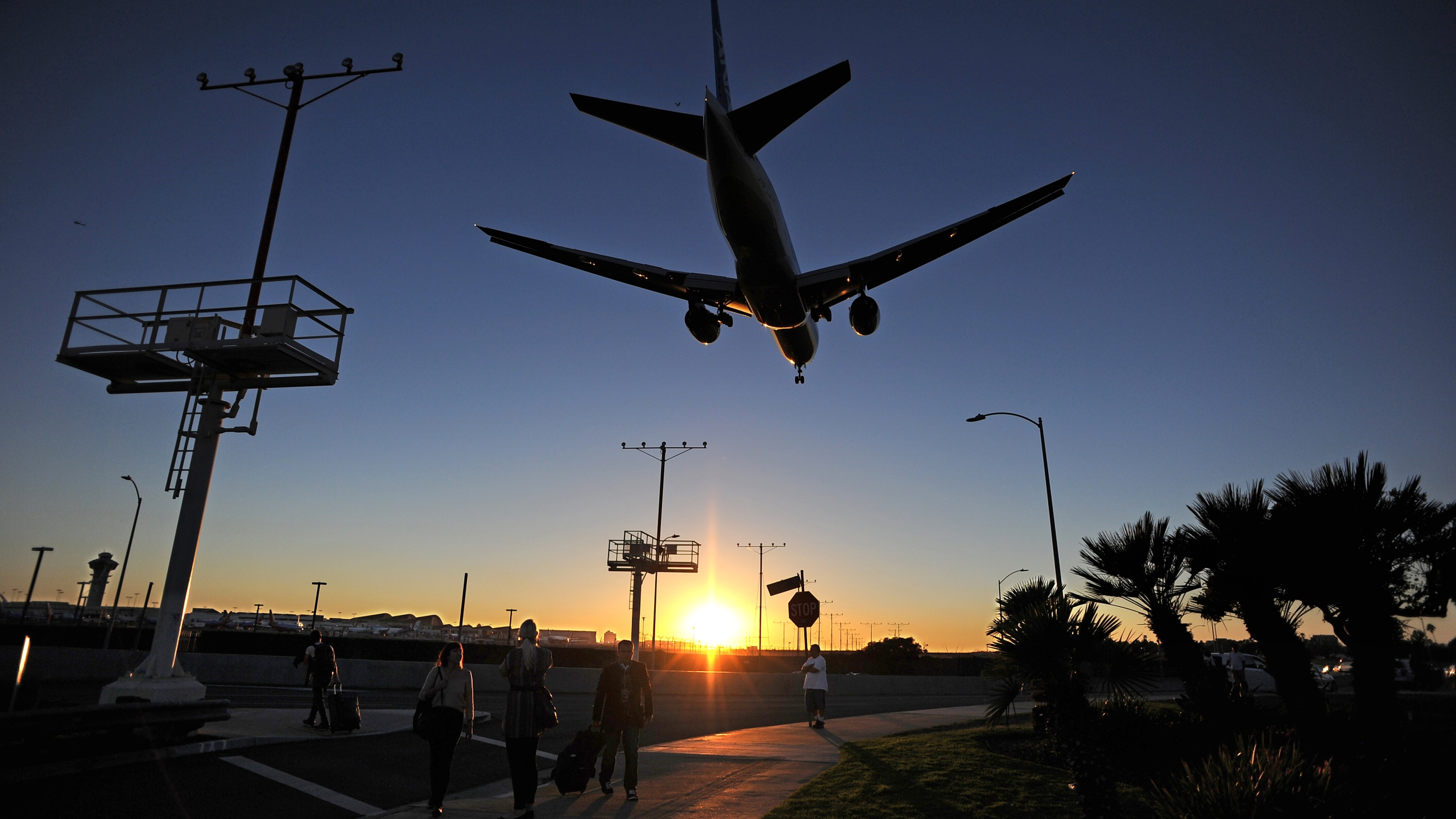 A plane lands at LAX airport. (Credit: ROBYN BECK/AFP/Getty Images)