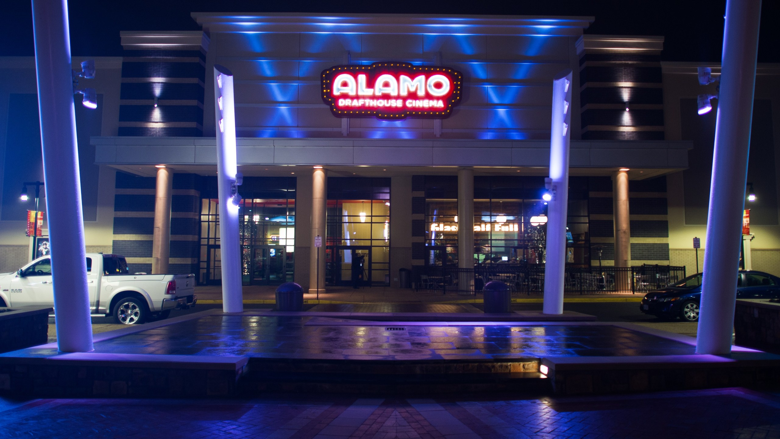 An exterior photo of the Alamo Drafthouse Cinema on Dec. 23, 2014, in Ashburn, Virginia. (Credit: PAUL J. RICHARDS/AFP/Getty Images)
