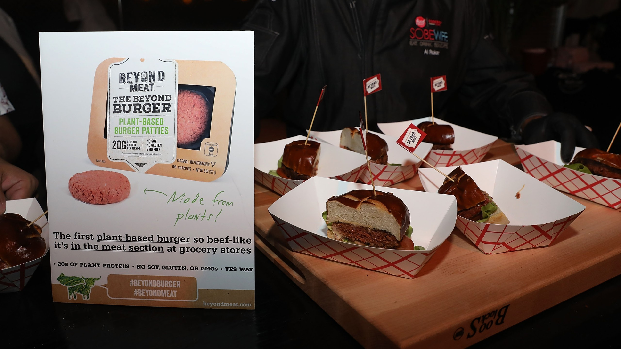 Beyond Meat burgers are displayed at an event in Miami Beach, Florida on Feb. 24, 2017. (Credit: Aaron Davidson/Getty Images for BEYOND MEAT)