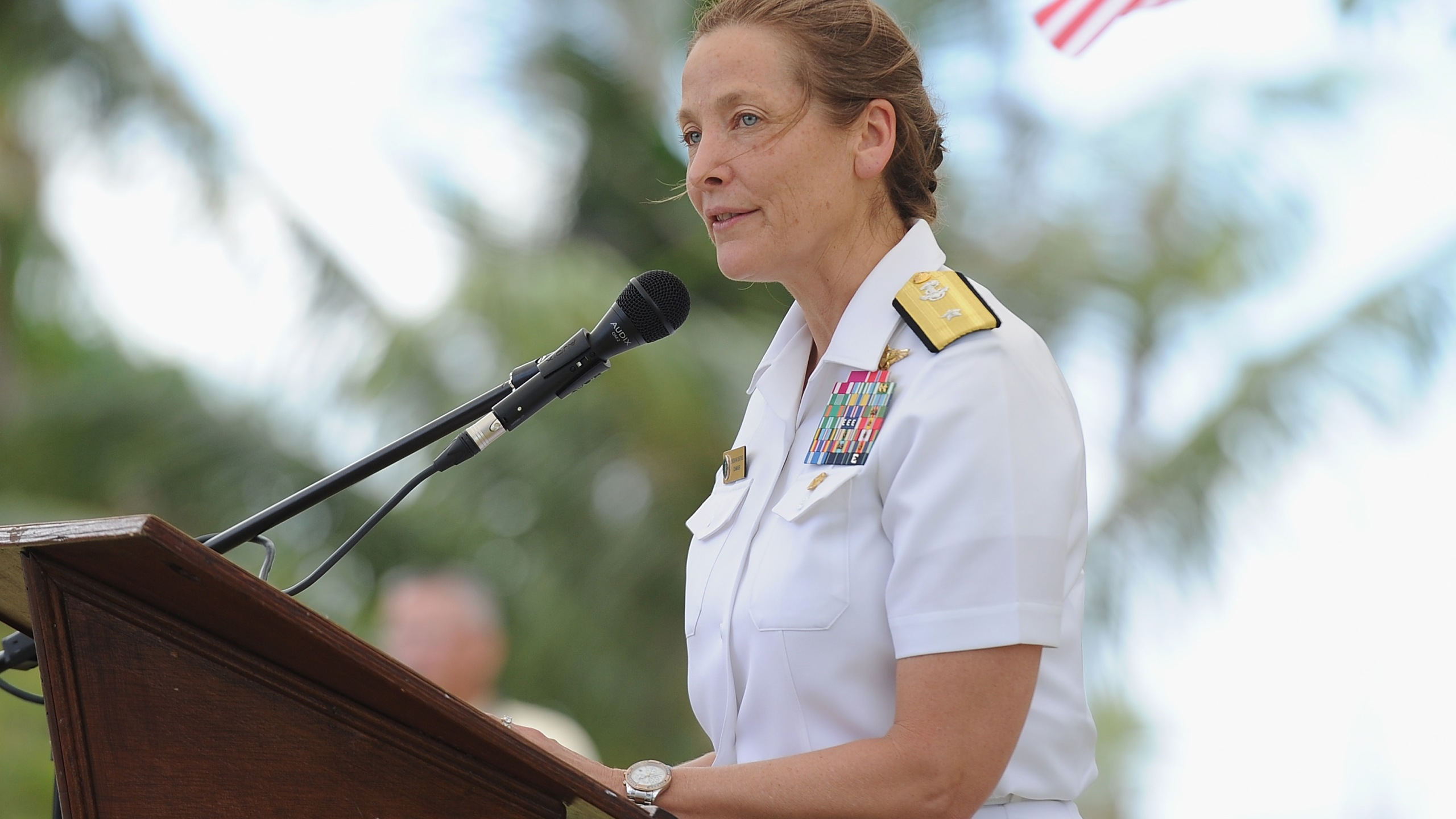 Rear Admiral, U.S. Navy Shoshana S. Chatfield speaks during the SMS Cormoran II 100 Years Memorial Ceremony at U.S Agana Navy Cemetery on April 7, 2017, in Guam. (Credit: Matt Roberts/Getty Images for GUAM VISITORS BUREAU)