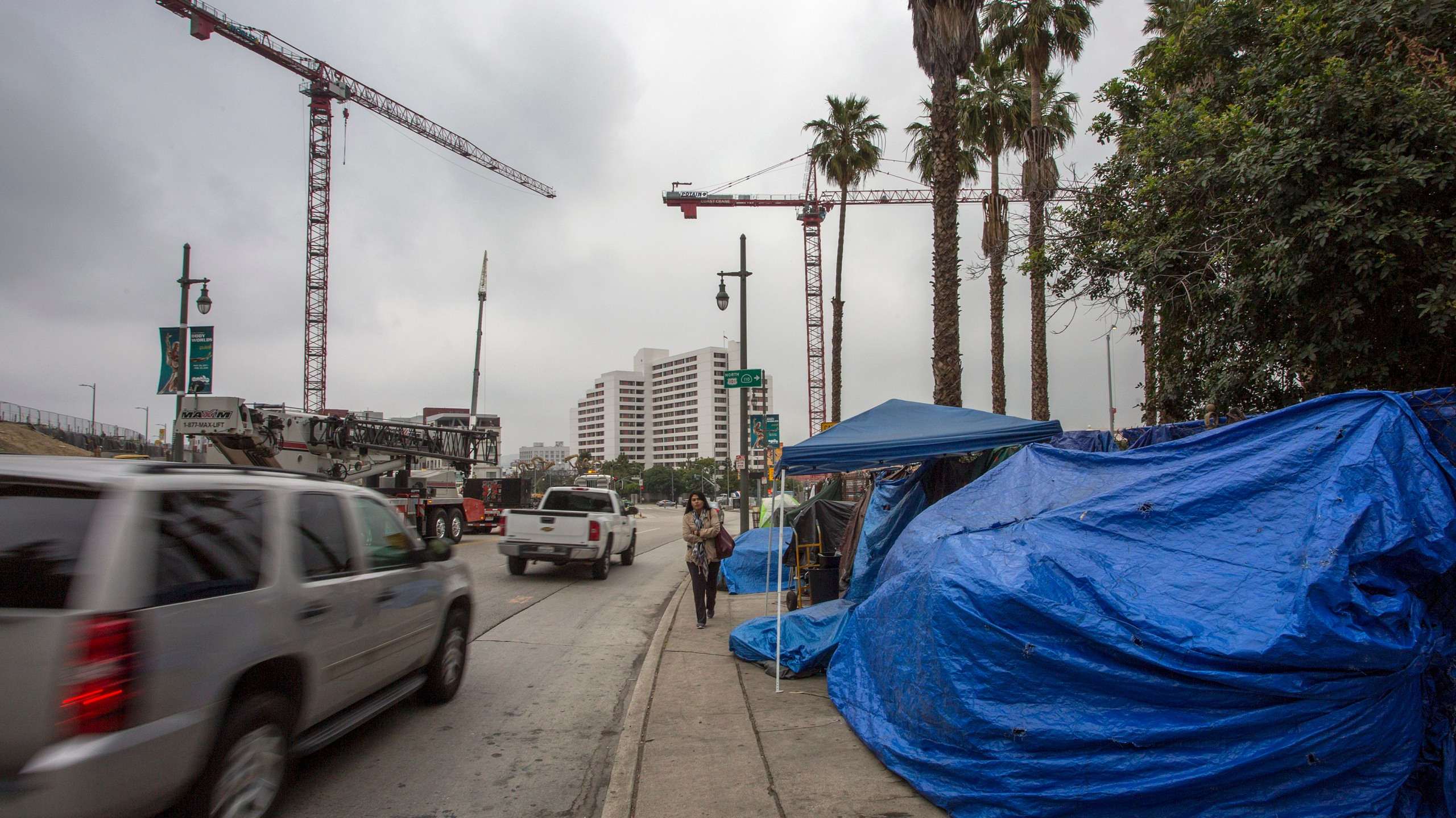 Cranes rise over a construction site near sidewalk homeless encampments on May 1, 2017 in Los Angeles. (Credit: David McNew/Getty Images)