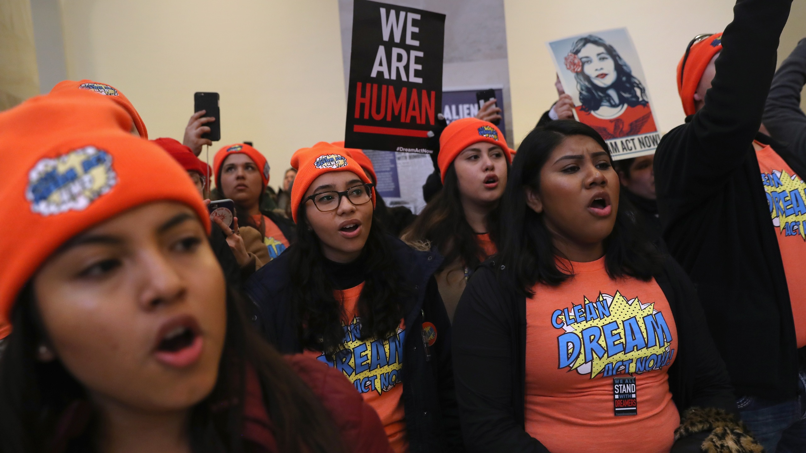 Immigration activists protest in the Russell Senate Office Building on Feb. 7, 2018 in Washington, D.C. (Credit: John Moore/Getty Images,)