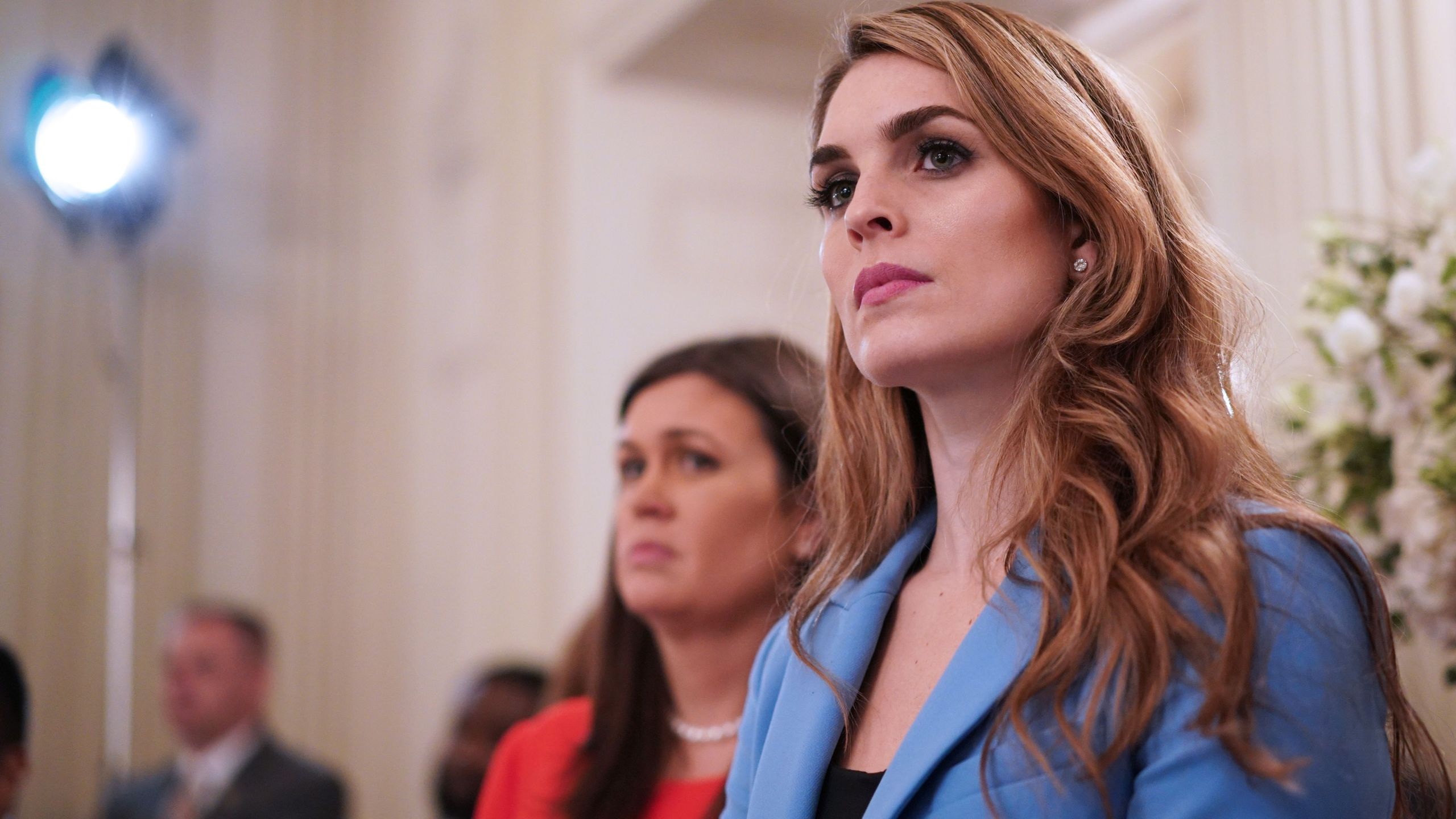 White House Communications Director Hope Hicks watches as Trump takes part in a listening session on gun violence with teachers and students in the State Dining Room of the White House on February 21, 2018. (Credit: MANDEL NGAN/AFP/Getty Images)