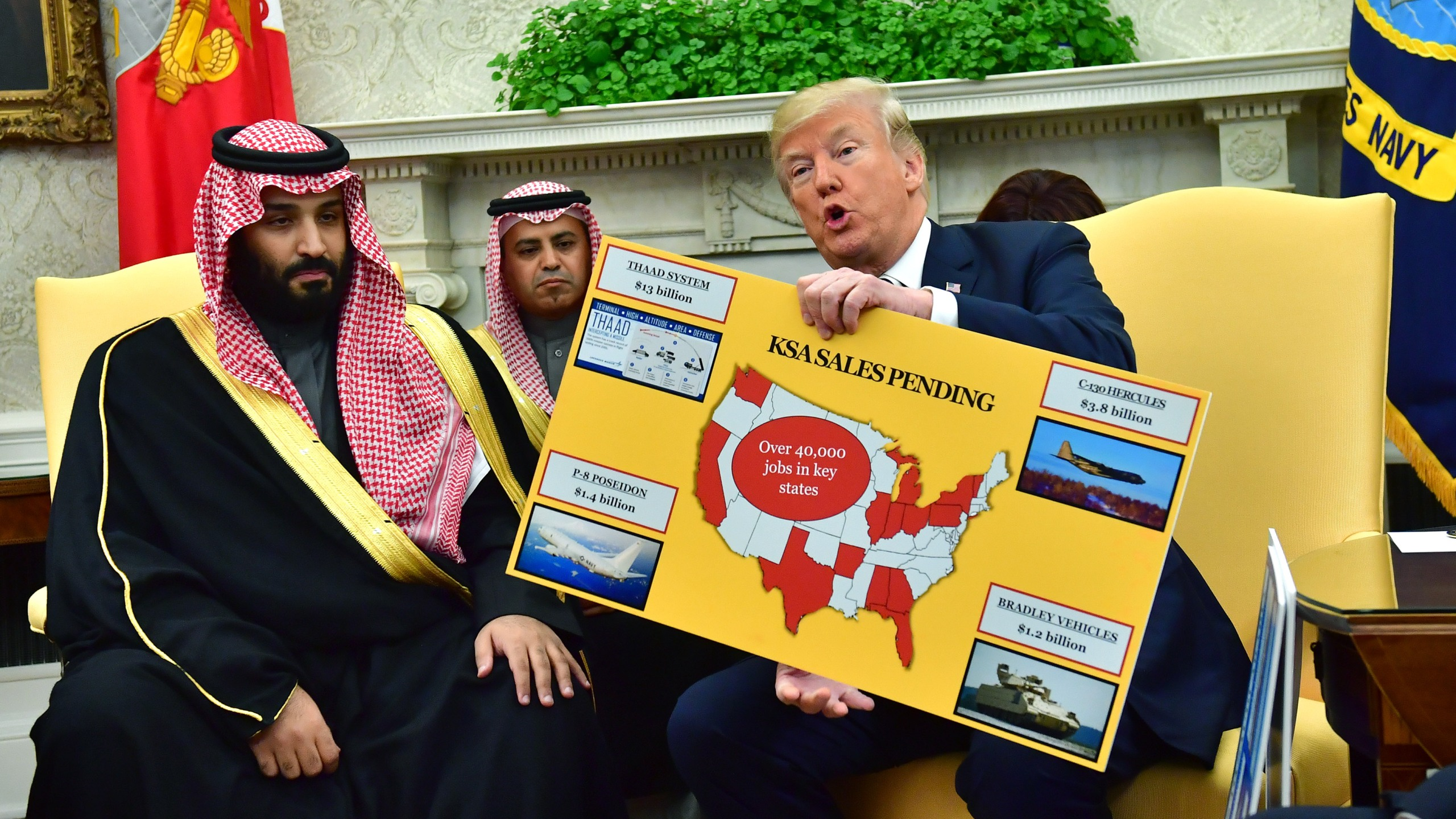 Donald Trump holds up a chart of military hardware sales as he meets with Crown Prince Mohammed bin Salman of Saudi Arabia at the White House on March 20, 2018, in Washington, D.C. (Credit: Kevin Dietsch-Pool/Getty Images)