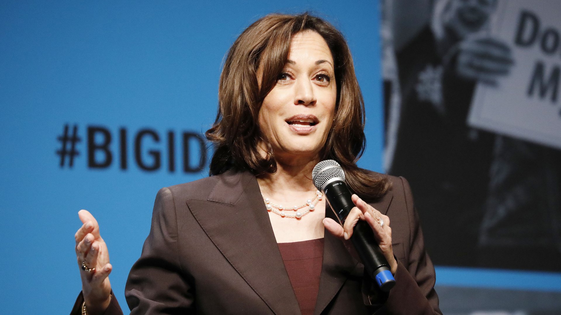 Kamala Harris speaks onstage at the MoveOn Big Ideas Forum at The Warfield Theatre on June 01, 2019 in San Francisco, California. (Credit Kimberly White/Getty Images for MoveOn)