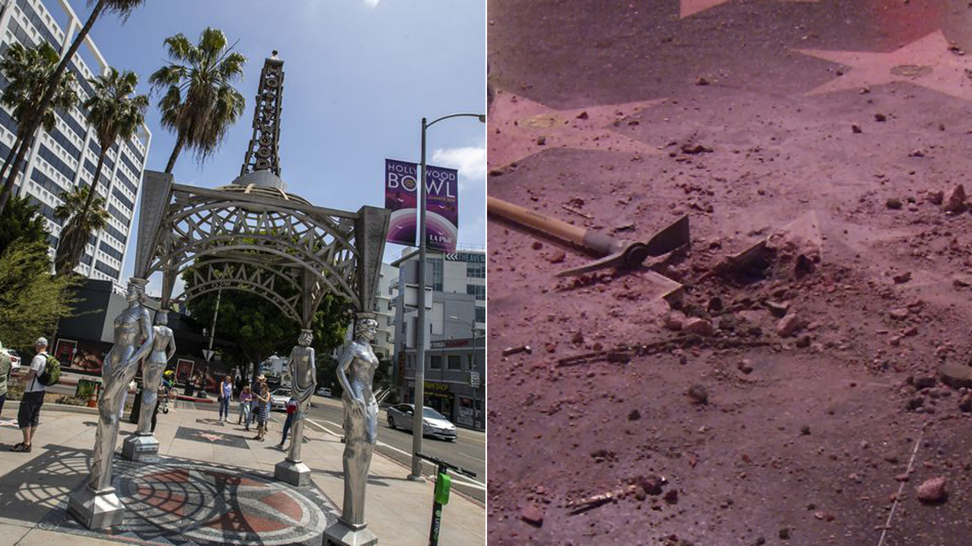The Four Ladies of Hollywood gazebo is seen in an undated photo, left, and Donald Trump's vandalized star on the Hollywood Walk of Fame in seen on July 25, 2018. (Credit: Brian van der Brug / Los Angeles Times / Loudlabs)