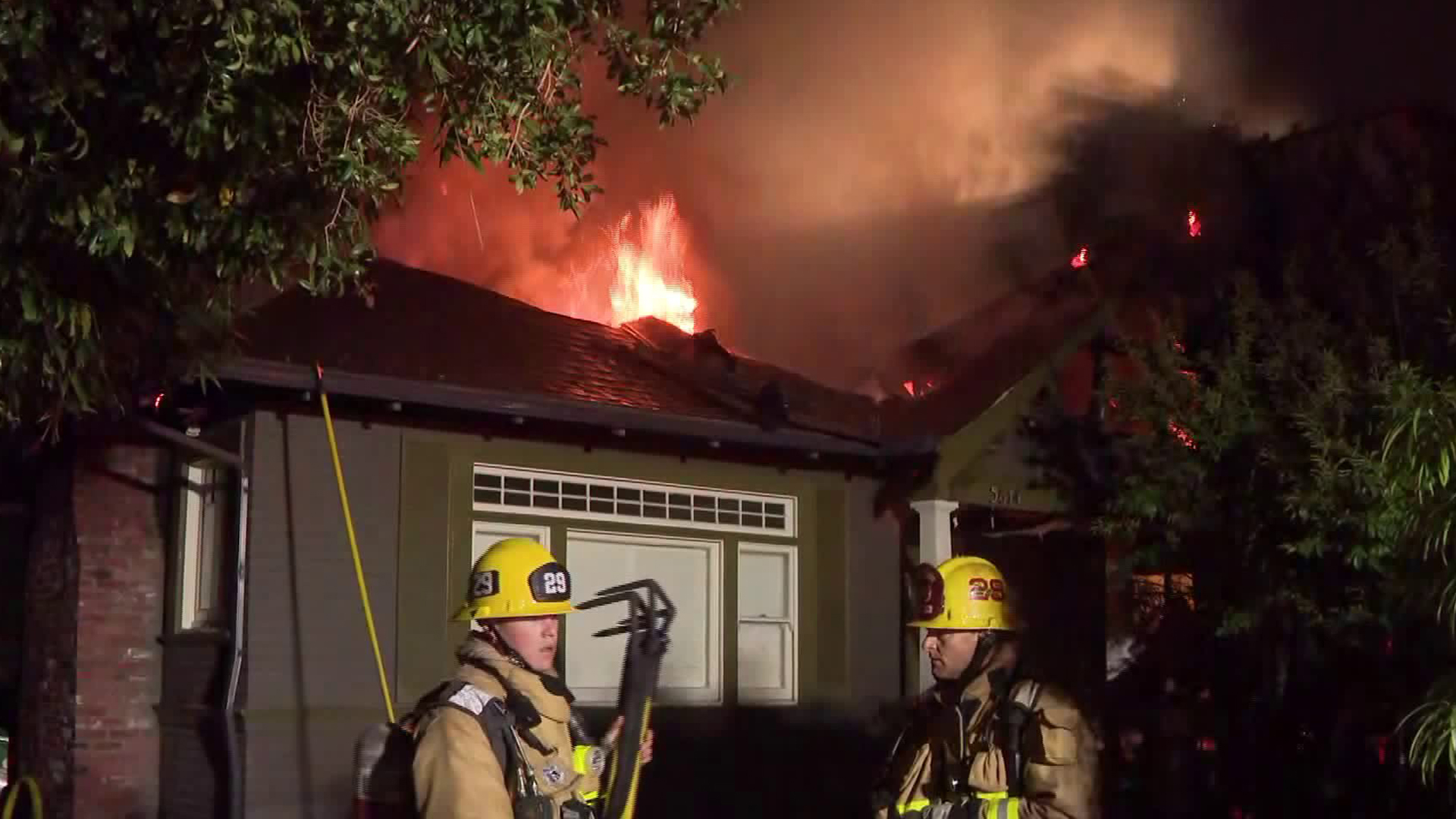 Firefighters respond to a blaze in Hollywood on June 25, 2019. (Credit: KTLA)