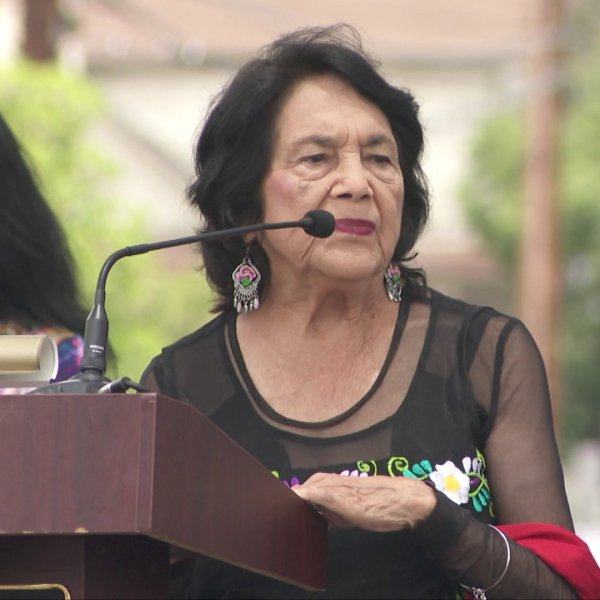 Civil rights activist Dolores Huerta attends a ceremony at which a Boyle Heights intersection was named for her on June 22, 2019. (Credit: KTLA)