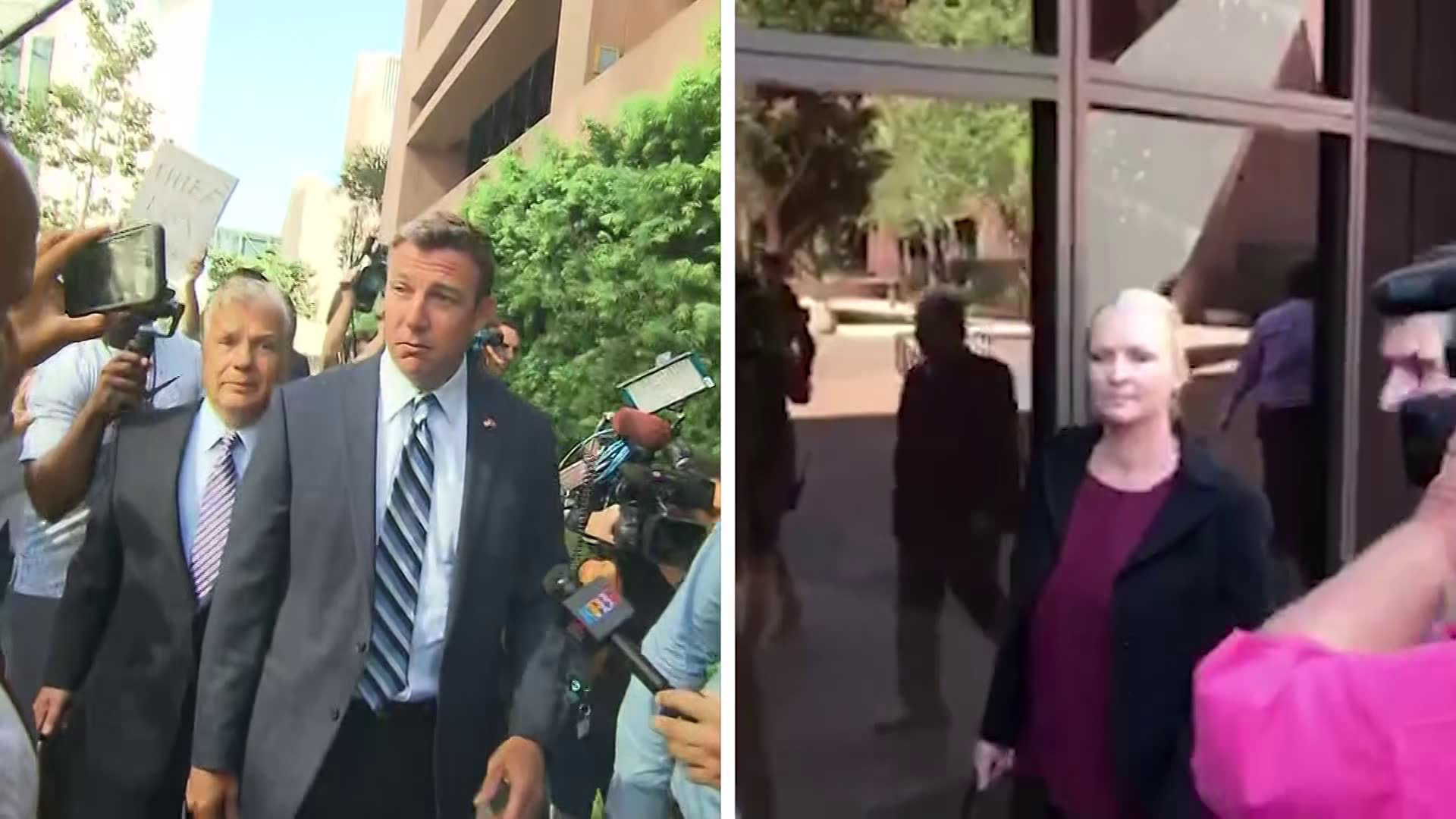 Rep. Duncan Hunter, left, and Margaret Hunter, right, are seen in file photos. (Credit: CNN)