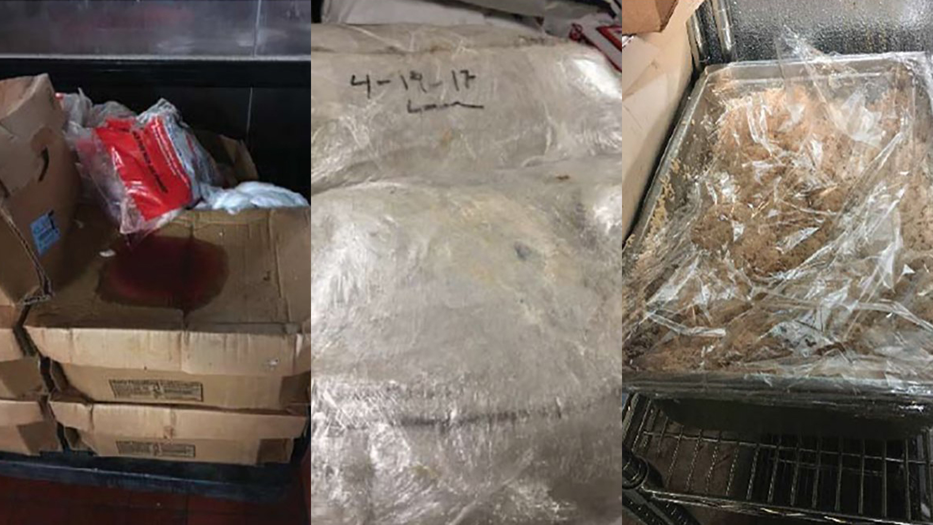 Open packaged raw meat and food items leaking blood, not relabeled and dated, observed by OIG at the Essex facility on July 24, 2018 (left); food not properly labeled or stared at LaSalle facility on August 7, 2018 (center); and unlabeled food with no description or date at Aurora facility on November 6, 2018 (right). (Credit: Office of Inspector General/DHS)