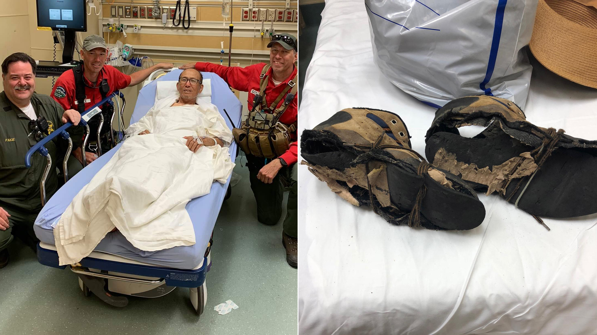 The Montrose Search and Rescue Team tweeted these photos on June 30, 2019 of Eugene Jo and his shoes after he was rescued in the San Gabriel Mountains.