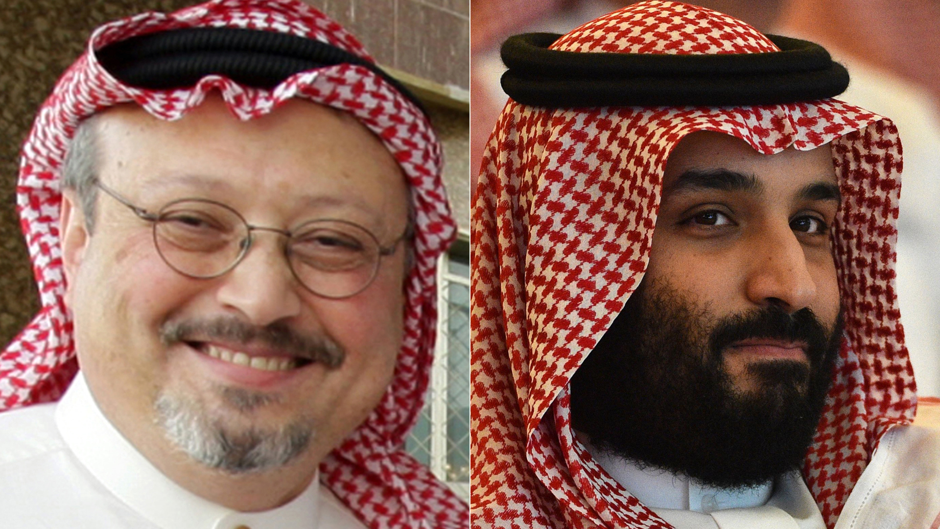 Prominent Saudi journalist Jamal Khashoggi appears in an undated file photo from Getty Images. On right, Saudi Crown Prince Mohammed bin Salman attends the Future Investment Initiative conference in Riyadh on Oct. 23, 2018. (Credit: FAYEZ NURELDINE/AFP/Getty Images)