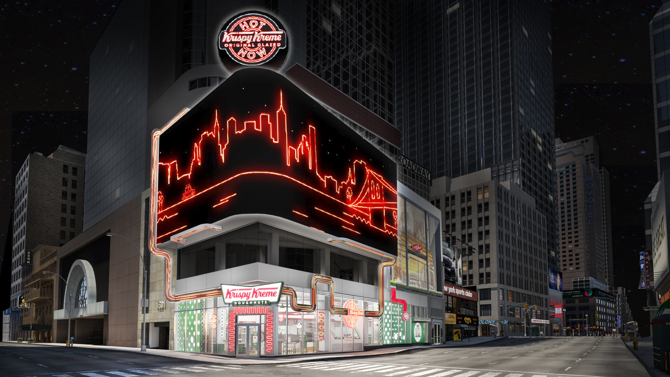 A rendering shows Krispy Kreme's planned Times Square flagship store that's slated to open in early 2020.