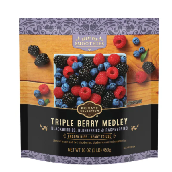 """Kroger's """"Private Selection Frozen Triple Berry Medley"""" appears in a photo posted on the company's retail website."""