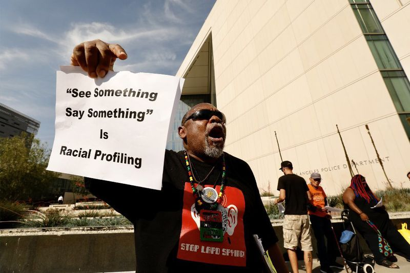 George Herod joins the Stop LAPD Spying Coalition protest outside Los Angeles police headquarters to demand an end to the suspicious activity reporting program on June 11, 2019. (Credit: Al Seib / Los Angeles Times)