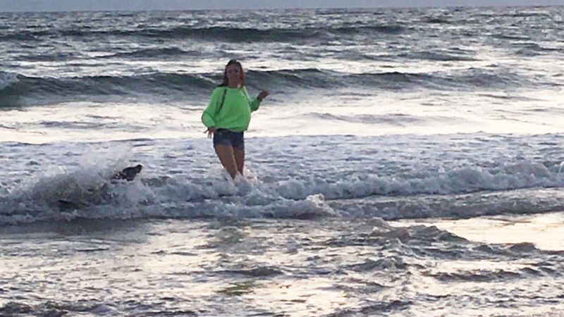Megan Pagnini, who was bitten by a sea lion, plays in the surf of Pismo Beach with a sea lion. (Credit: California Department of Fish and Wildlife via Los Angeles Times)