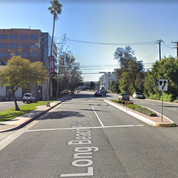 The intersection of Long Beach Boulevard and 44th Street in Long Beach, as pictured in a Google Street View image in March of 2019.