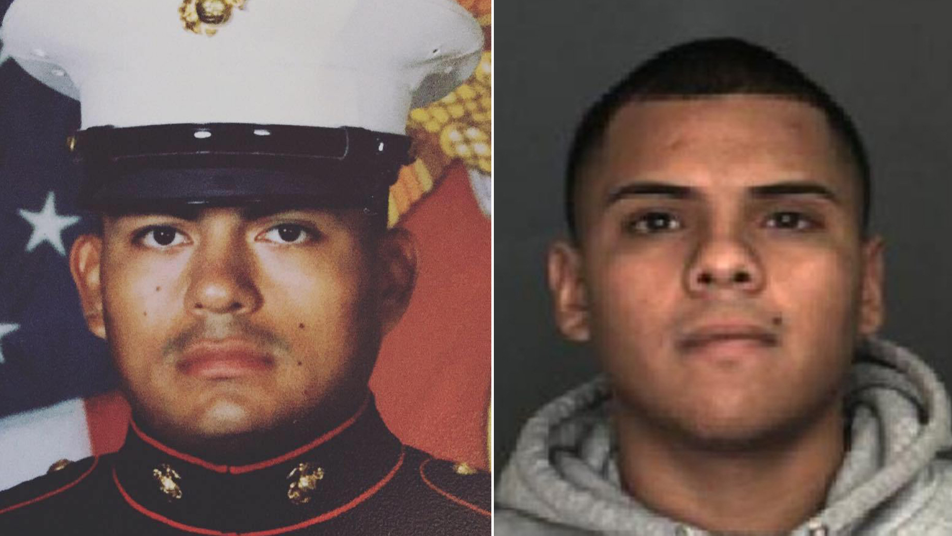 On the left, Douglas Rivas-Rauda, a U.S. Marine, is seen in a photo published on his Facebook page. On the right, Arturo Perez Medina, 22, is seen in an undated photo released by the San Bernardino Police Department.