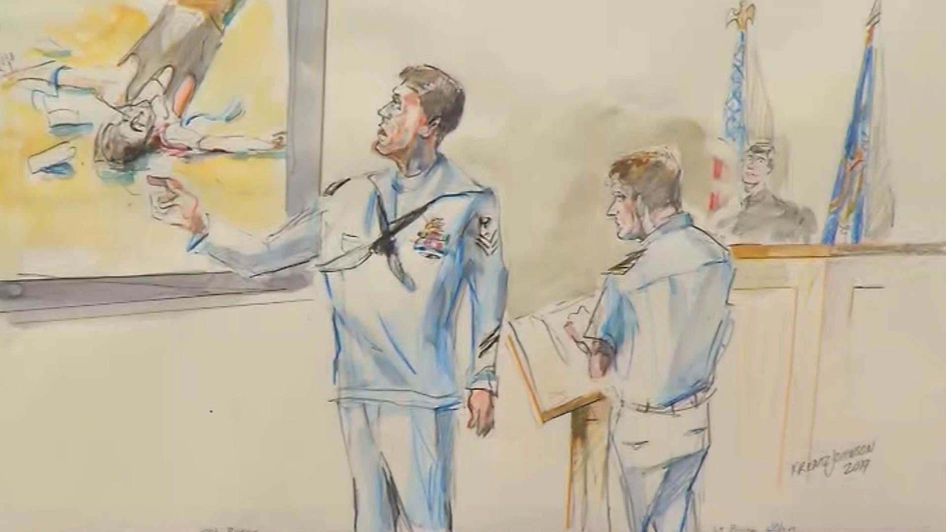Witness Corey Scott, a medic, testifies during the war crimes trial for Navy SEAL Edward Gallagher in San Diego on June 20, 2019. (Credit: Krentz Johnson via CNN)