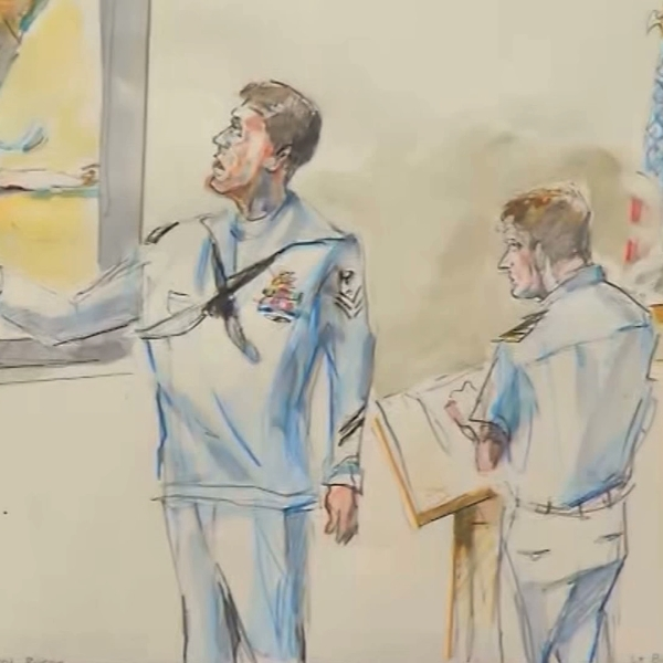 Witness Corey Scott, a medic, testifies during the war crimes trial for Navy SEAL Edward Gallagher in San Diego on June 20, 2019. (Credit: Krentz Johnson via CNN)