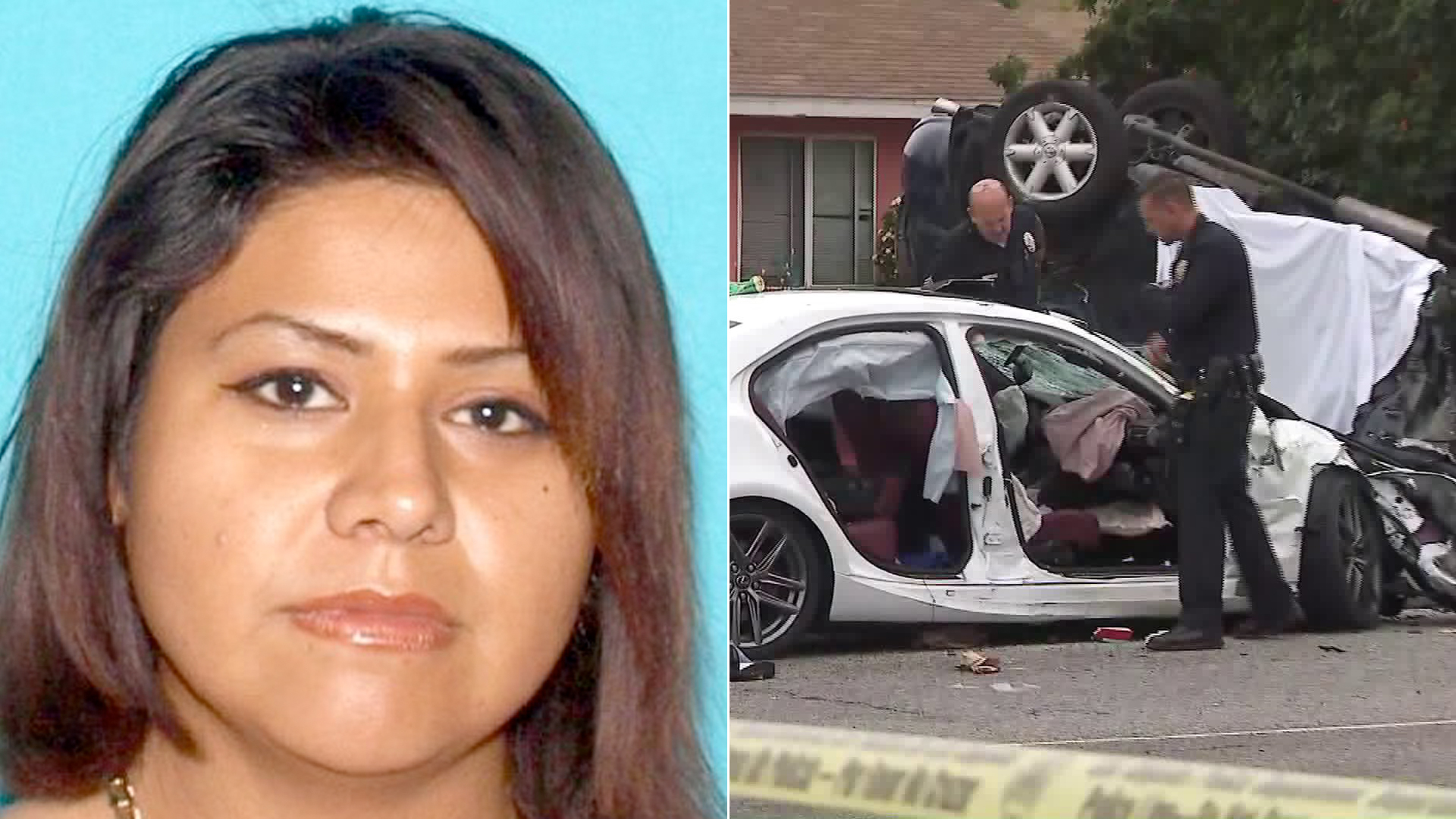 Maritza Joana Lara is seen in an undated driver's license photo released June 18, 2019, by the Los Angeles Police Department. On the right, officials assess the scene of a deadly crash she allegedly caused in North Hills on June 16, 2019. (Credit: KTLA)