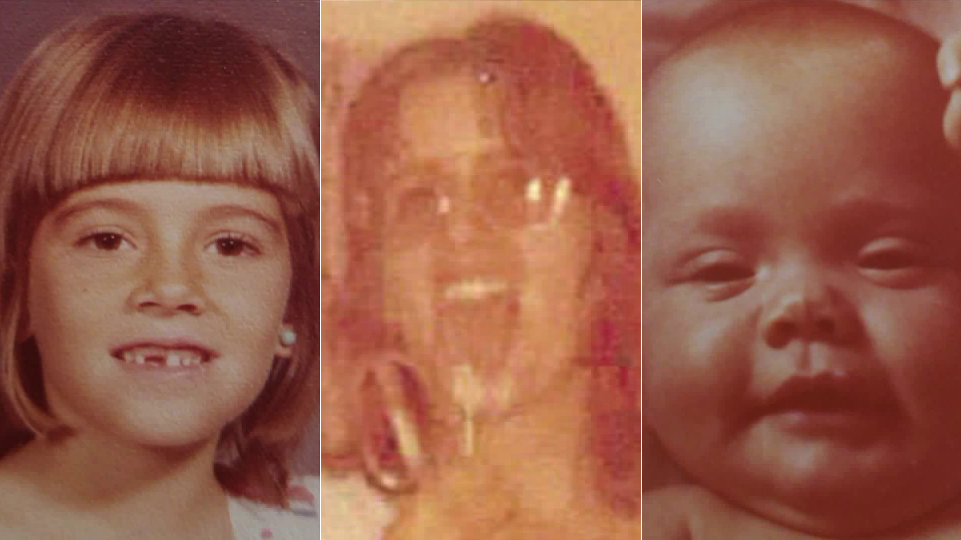 Marlyse Elizabeth Honeychurch, center, her older daughter Marie Elizabeth Vaughn, left, and younger daughter Sarah Lynn McWaters are seen in photos released by the National Center for Missing and Exploited Children.