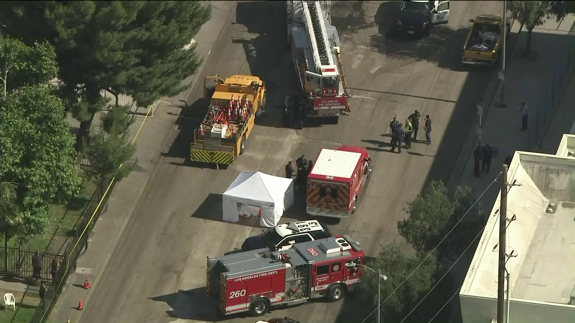 A worker fell from a truck and fatally struck his head along North Tujunga Avenue in North Hollywood on June 7, 2019. (Credit: KTLA)