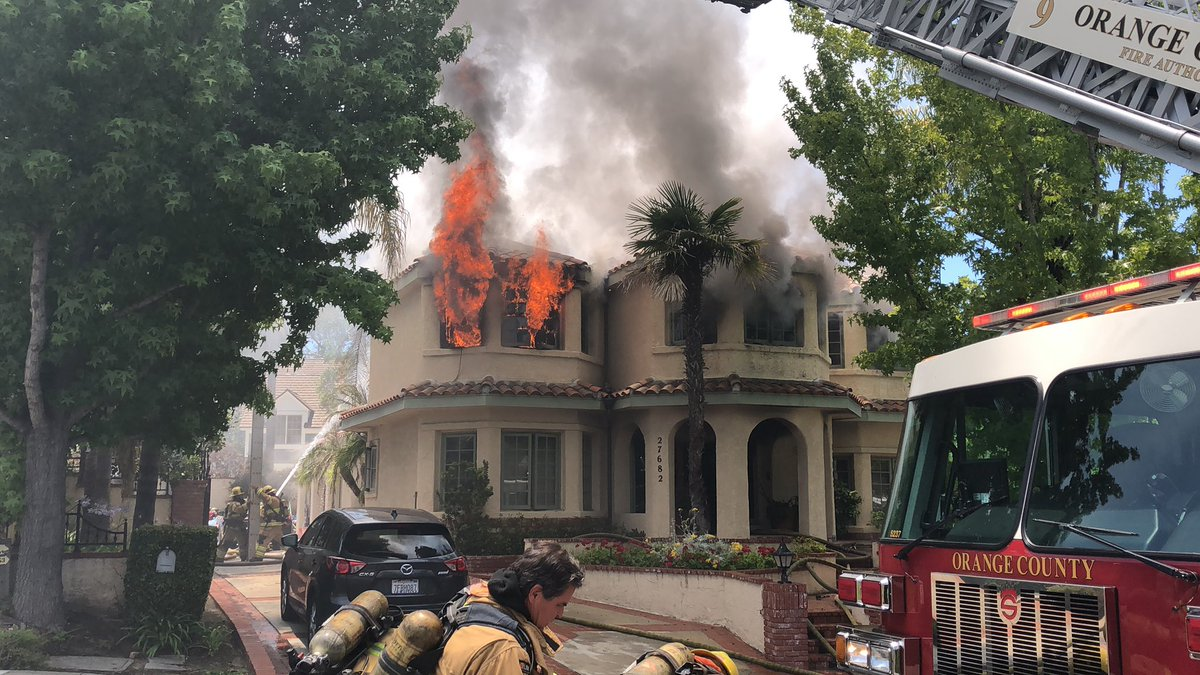 Two men suffered severe burns in a fire and possible explosion at a home in San Juan Capistrano on June 9, 2019. (Credit: Orange County Fire Authority)