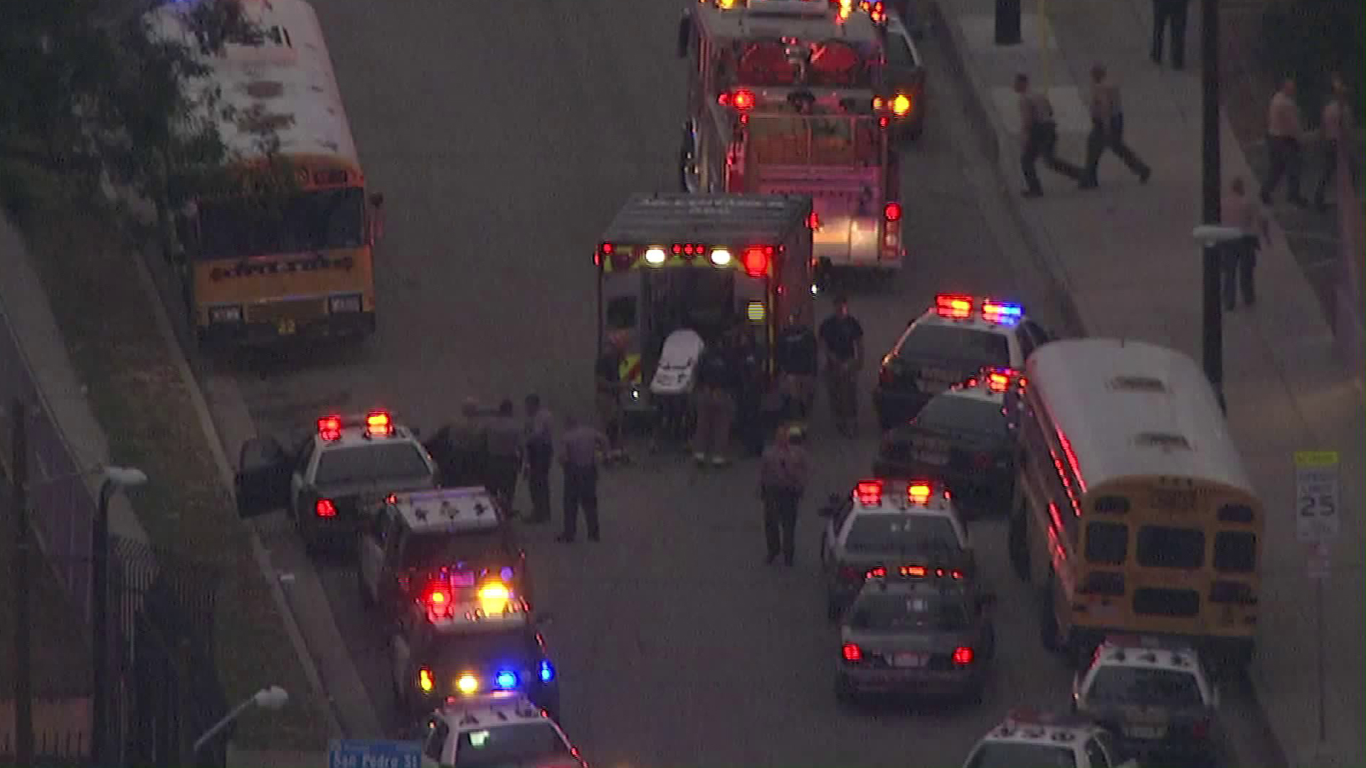 Paramedics and investigators respond to the scene of a deputy-involved shooting in Willowbrook on June 6, 2019. (Credit: KTLA)