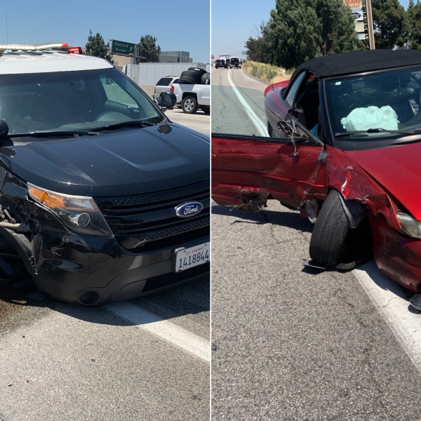 A police SUV and red convertible that was fleeing authorities is seen after the suspect allegedly rammed into the law enforcement car on the 60 Freeway on June 12, 2019, in photos released by the Ontario Police Department.