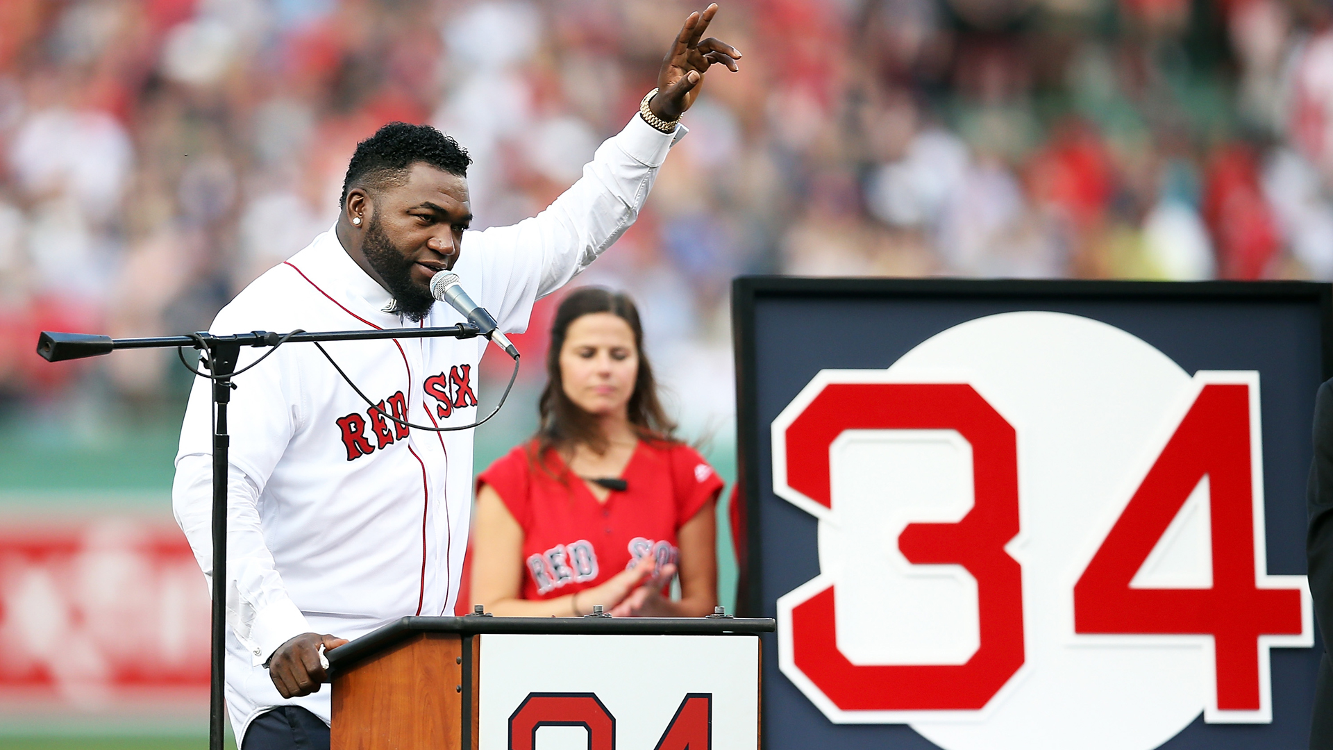 Former Boston Red Sox player David Ortiz #34 speaks during his jersey retirement ceremony before a game against the Los Angeles Angels of Anaheim at Fenway Park on June 23, 2017 in Boston, Massachusetts. (Credit: Adam Glanzman/Getty Images)