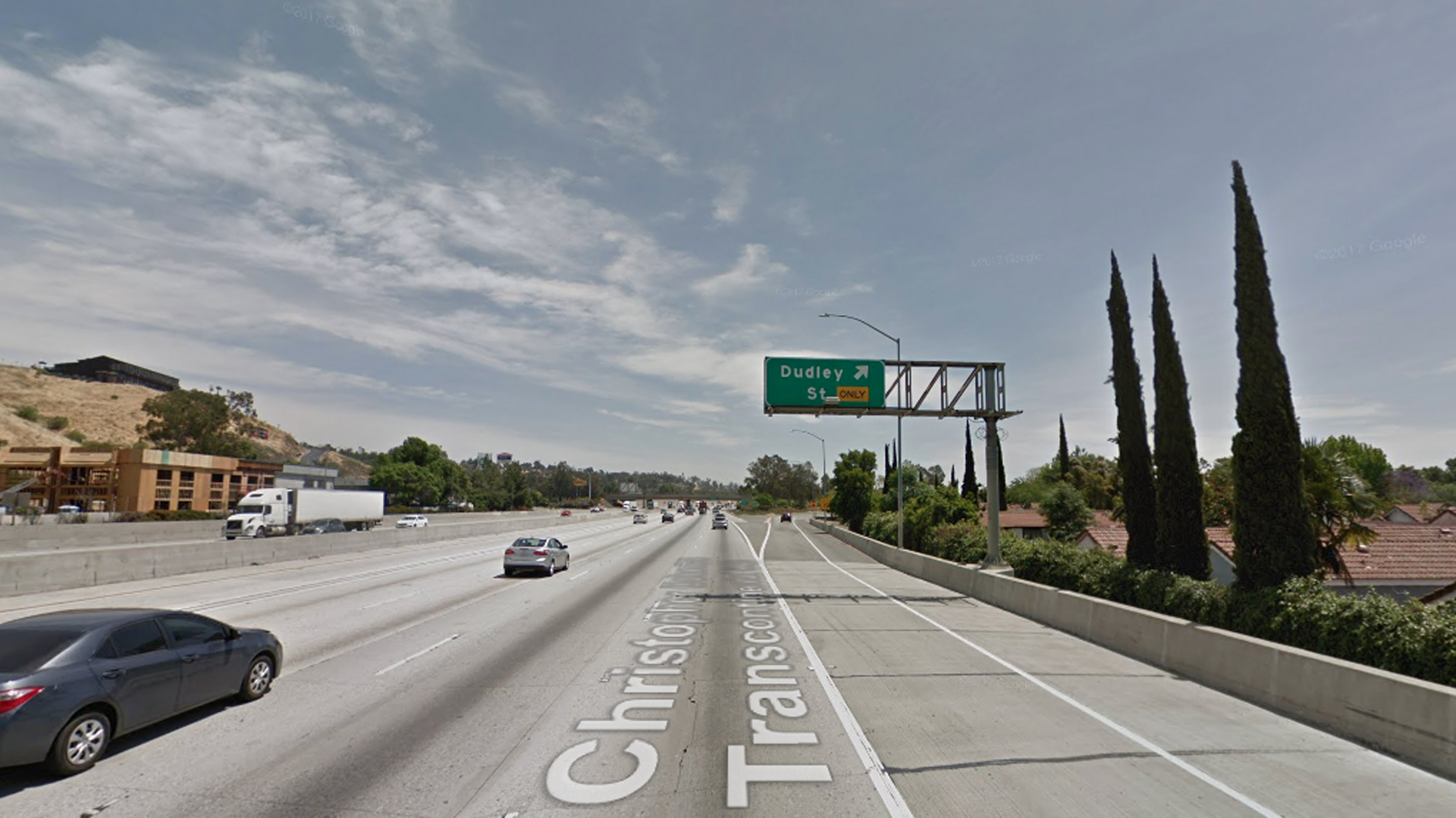 The eastbound 10 Freeway approaching Dudley Street in Pomona, as pictured in a Google Street View image in April of 2017.