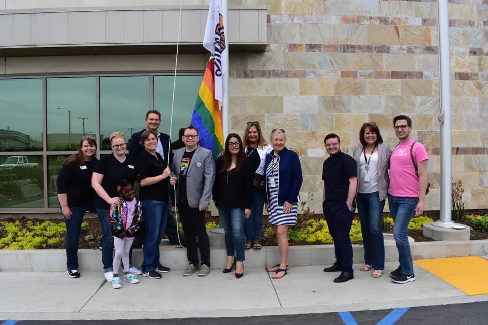 Members of the Orange County Fair & Event Center Board of Directors and staff, along with representatives from the LGBTQ community, gathered in Costa Mesa to raise the pride flag at the fairgrounds on June 8, 2019. (Credit: O.C. Fair/Facebook)