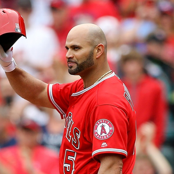 Albert Pujols #5 of the Los Angeles Angels of Anaheim salutes fans as he receives a standing ovation as he approaches the plate to bat din the second inning against the St. Louis Cardinals at Busch Stadium on June 22, 2019 in St. Louis, Missouri. (Credit: Scott Kane/Getty Images)