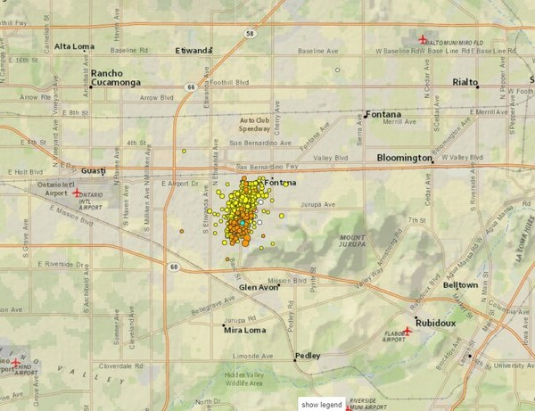 Orange dots represent quakes in the Inland Empire June 2-7, 2019. Yellow dots indicate quakes on June 1, 2019. (Credit: U.S. Geological Survey via Los Angeles Times)