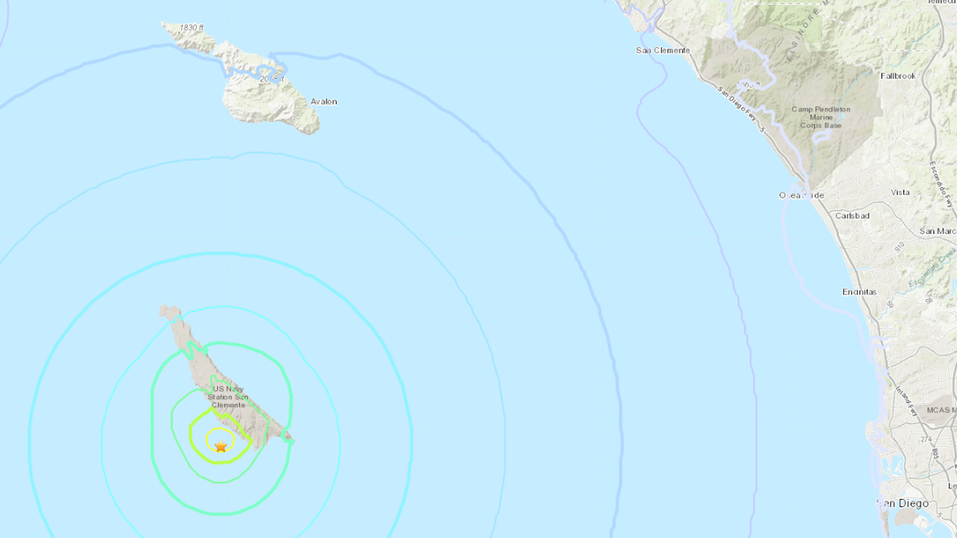 A 4.3 earthquake struck near Avalon on June 5, 2019. (Credit: USGS)