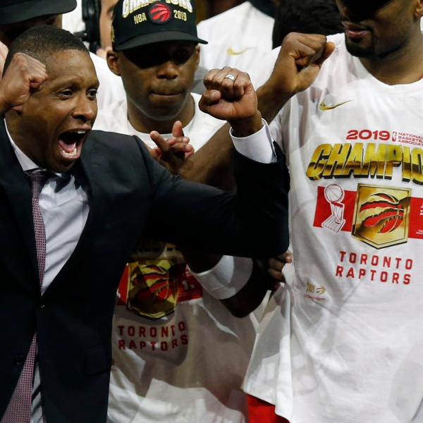 General Manager of the Toronto Raptors Masai Ujiri celebrates his team's victory over the Golden State Warriors to win Game Six of the 2019 NBA Finals at ORACLE Arena on June 13, 2019, in Oakland. (Credit: Lachlan Cunningham/Getty Images)