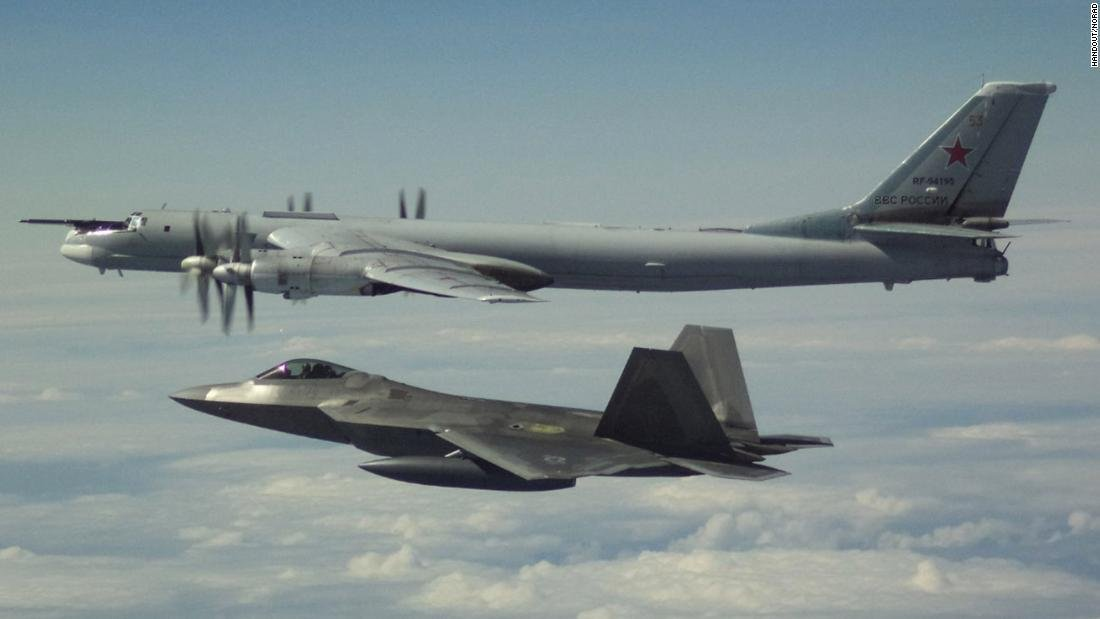 A Russian aircraft intercepted a US aircraft flying in international airspace over the Mediterranean Sea three times in just under three hours Tuesday, according to the US 6th Fleet. (Credit: NORAD/Handout)