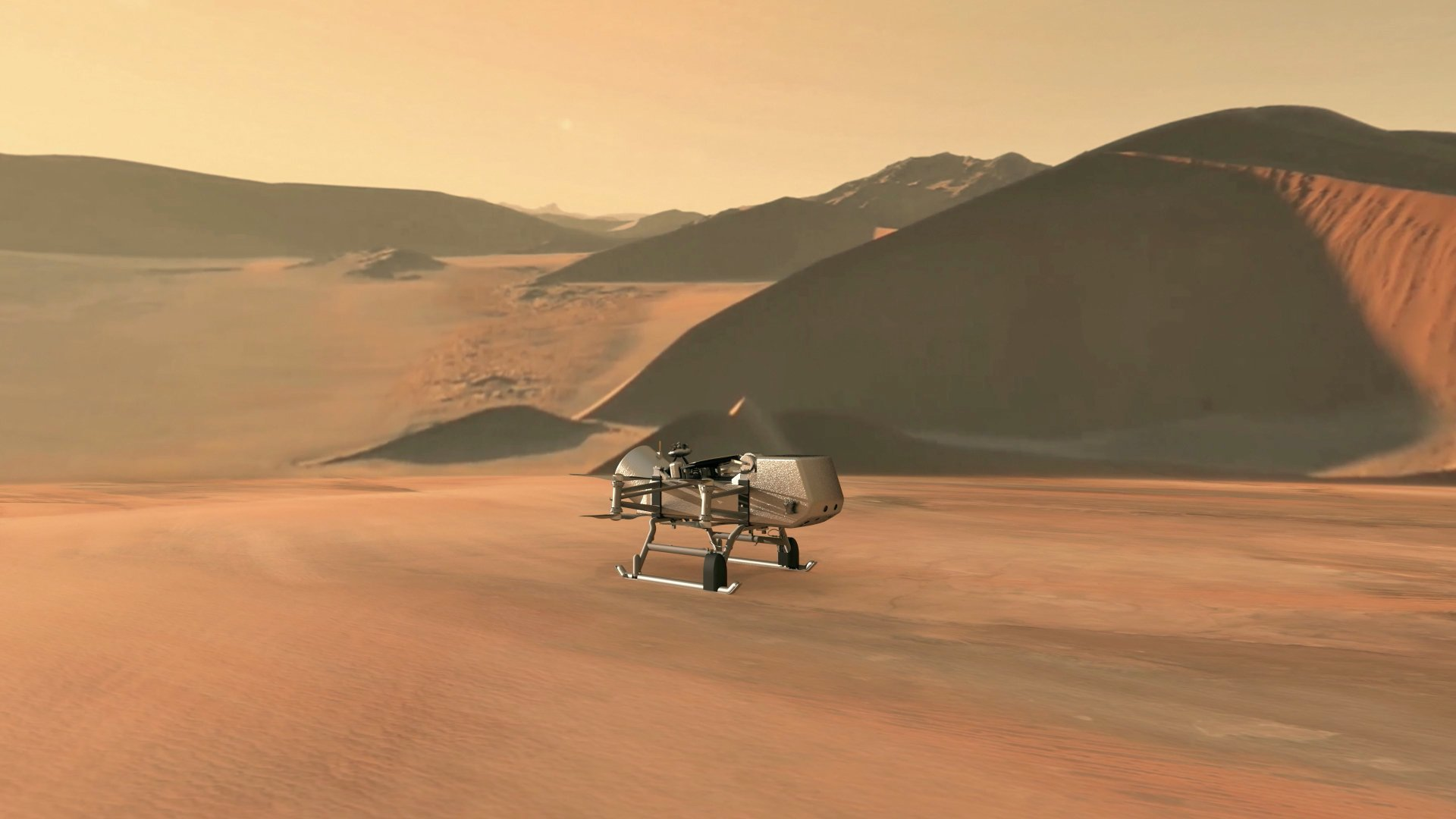 This illustration shows NASA's Dragonfly rotorcraft-lander approaching a site on Saturn's exotic moon, Titan. (Credit: NASA via CNN)