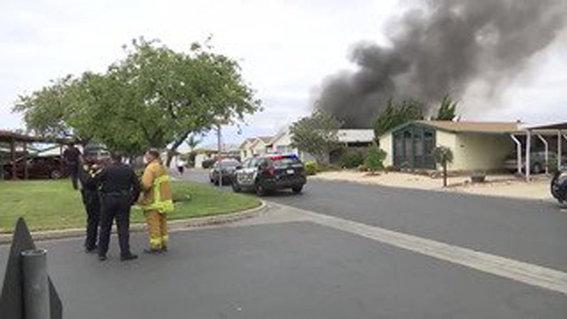 Five people died after a shooting and mobile home fire in Santa Maria. (Credit: KEYT)