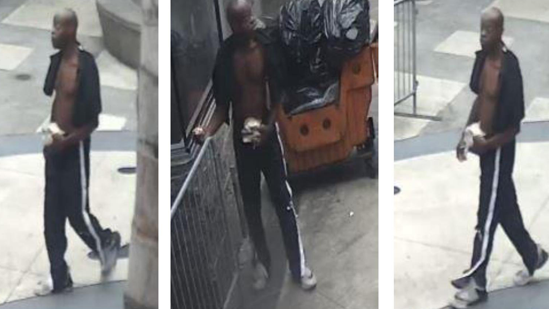 Police are seeking the man pictured in this photo in connection with the beating of a 76-year-old man at 6th and Spring streets in downtown Los Angeles on June 13, 2019. (Credit: Los Angeles Police Department)